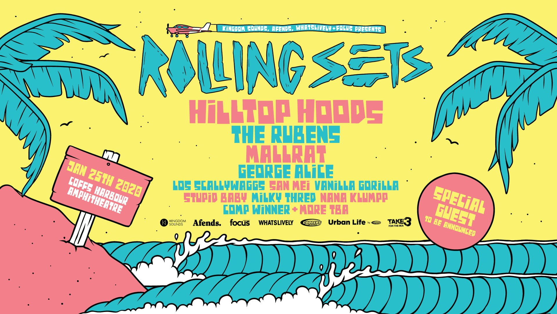 Rolling Sets 2020LINE UP: Hilltop Hoods, The Rubens, Mallrat, George Alice, Los Scallywaggs, San Mei, Vanilla Gorilla, Stupid Baby, Nana Klumpp, + Secret guest & Many more Date: 25th January 2020. Coffs Harbour Amphitheatre @ RED-C Events centre. 16+ Licensed